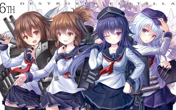 Anime Kantai Collection Inazuma Ikazuchi Akatsuki Hibiki HD Wallpaper | Background Image