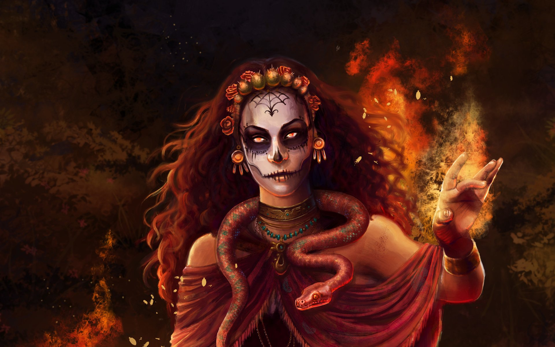 Witch full hd wallpaper and background image 1920x1200 id856076 fantasy witch sugar skull woman girl magic snake wallpaper voltagebd Choice Image