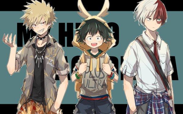 Anime My Hero Academia Izuku Midoriya Katsuki Bakugou Denki Kaminari HD Wallpaper | Background Image