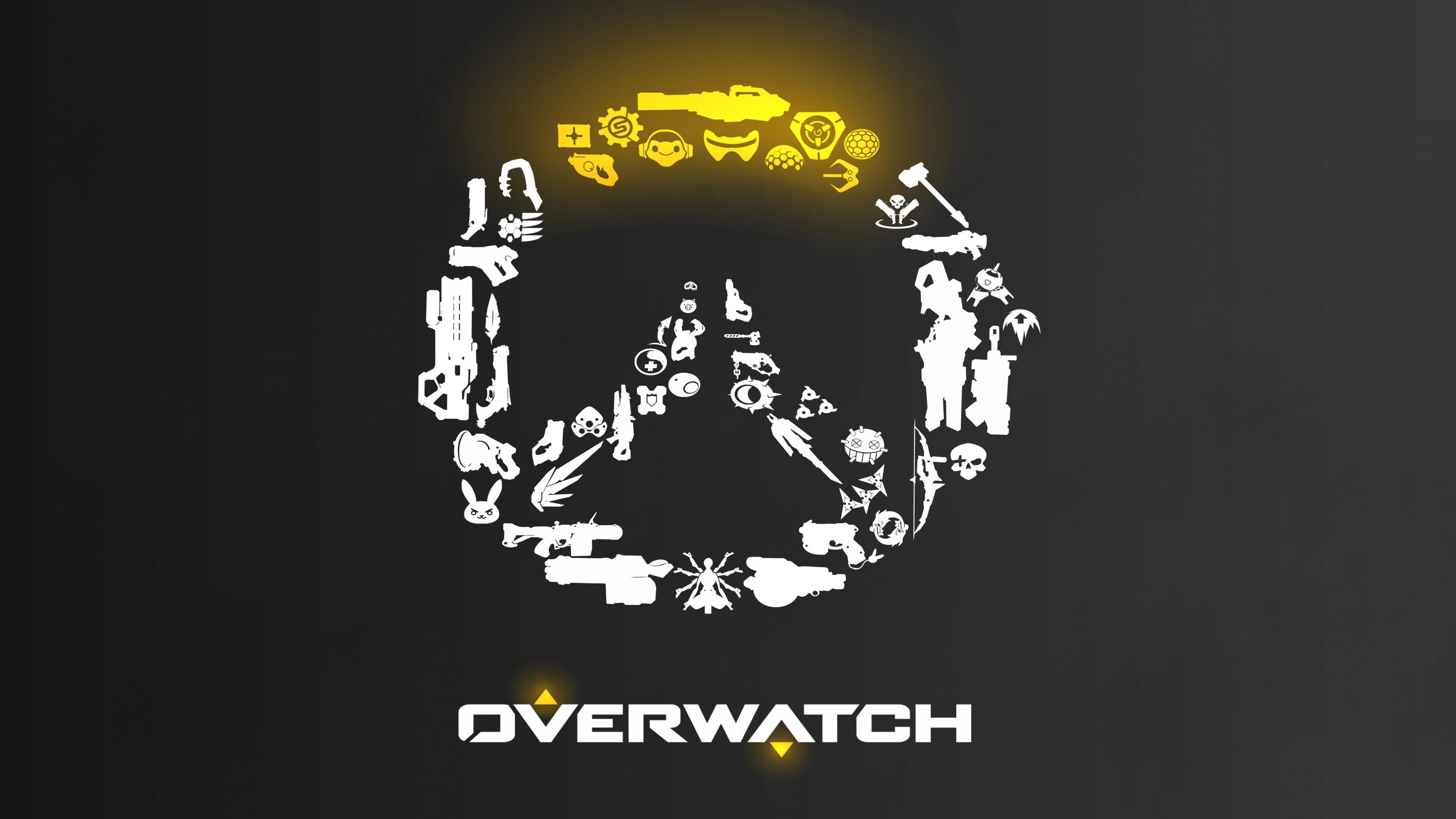 Overwatch Weapons Logo 4k Ultra Hd обои фон 3840x2160