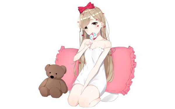 Anime Original Dress Blonde Candy Pillow Stuffed Animal bow HD Wallpaper | Background Image