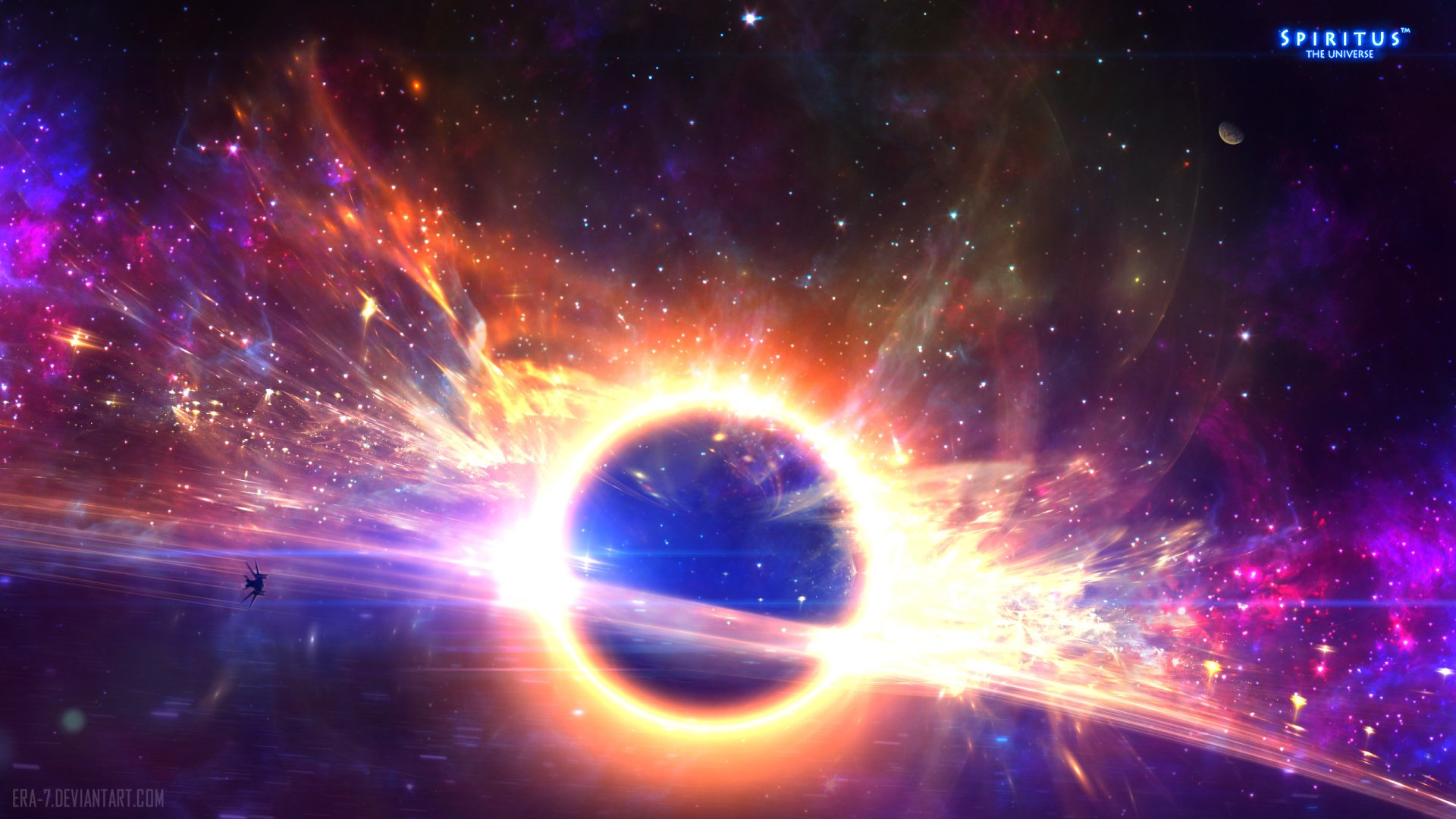 Sci Fi - Black Hole  Sci Fi Spaceship Space Stars Wallpaper