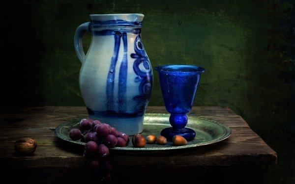 Photography Still Life Plate Pitcher Glass Blue Hazelnut Grapes Walnut HD Wallpaper | Background Image
