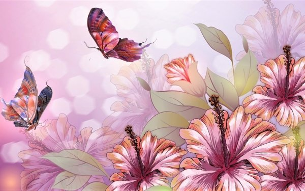 Artistic Flower Flowers Hibiscus Butterfly HD Wallpaper   Background Image