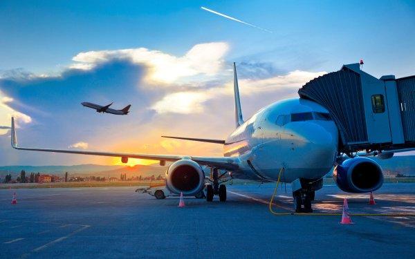 Man Made Airport Sunset Aircraft Passenger Plane HD Wallpaper | Background Image