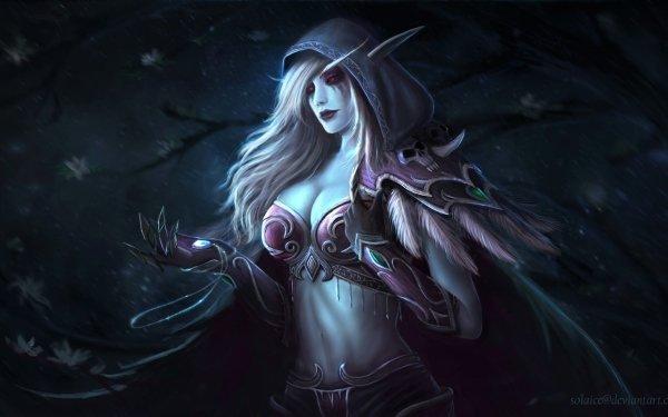 Video Game World Of Warcraft Warcraft Hood Red Eyes Blonde Elf Sylvanas Windrunner HD Wallpaper | Background Image