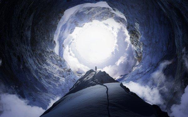 Anime Original Cueva Montaña Nube Sunlight Fondo de pantalla HD | Fondo de Escritorio