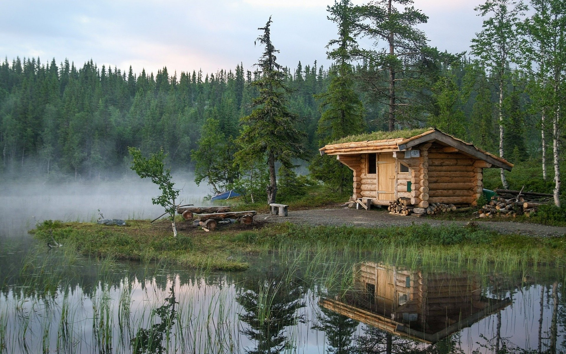 Man Made - Cabin  Reflection Lake Tree Wallpaper