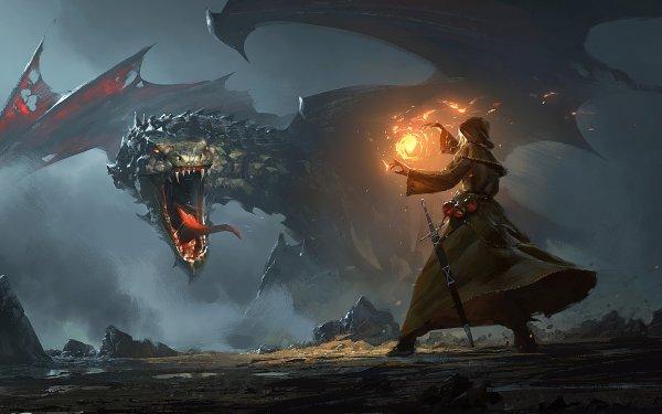 Fantasy Dragon Wizard HD Wallpaper | Background Image