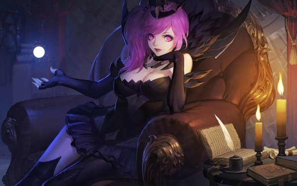 Videojuego League Of Legends Crown Lux Pink Eyes Pink Hair Fondo de pantalla HD | Fondo de Escritorio