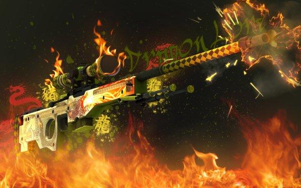Video Game Counter-Strike: Global Offensive Counter-Strike Dragon Lore AWP Azimov Guns HD Wallpaper | Background Image