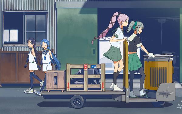 Anime Kantai Collection Samidare Suzukaze Yura Yuubari HD Wallpaper | Background Image