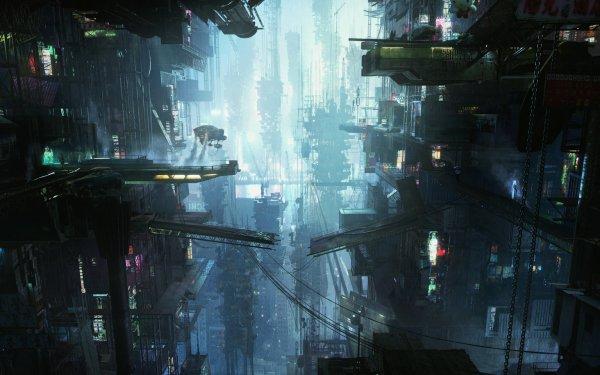 Sci Fi City Landscape HD Wallpaper | Background Image
