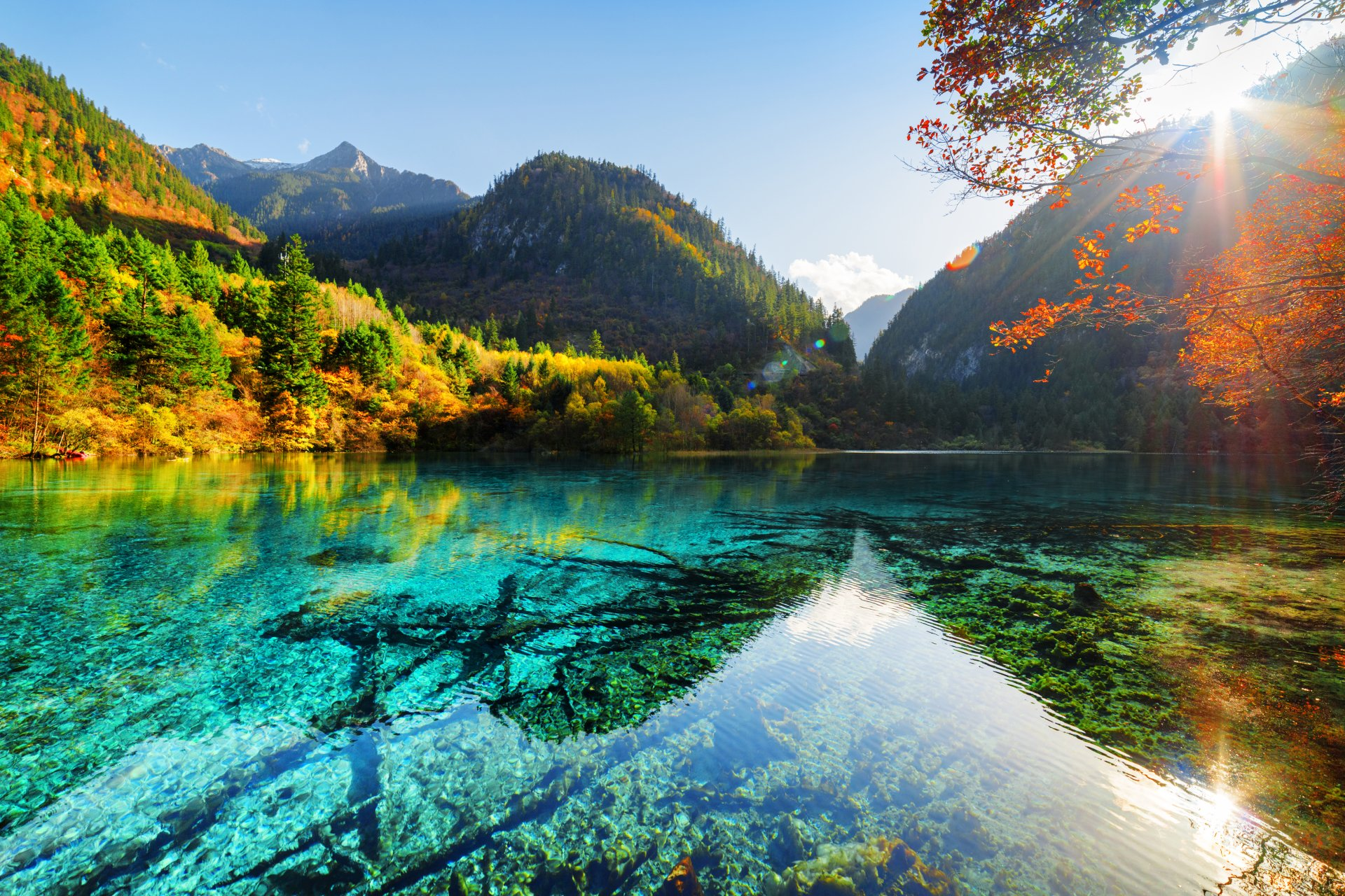 Earth - Lake  Nature Sunbeam Fall Foliage Mountain Wallpaper