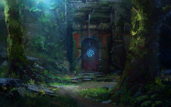 Fantasy Ruin Door Light HD Wallpaper   Background Image