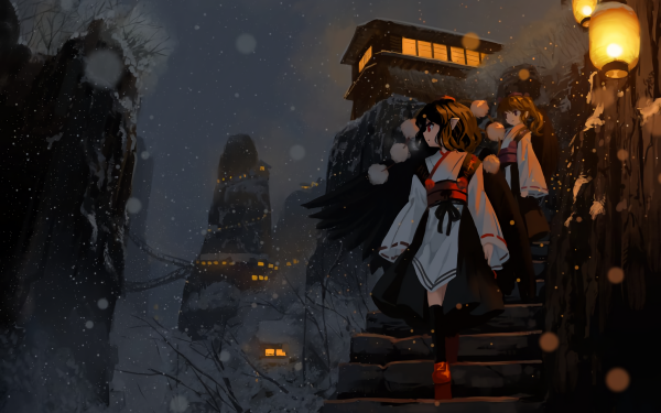 Anime Touhou Hatate Himekaidou Aya Shameimaru HD Wallpaper | Background Image
