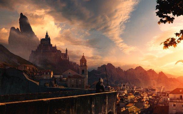 Fantasy City Building Sunrise Dragon Castle HD Wallpaper | Background Image