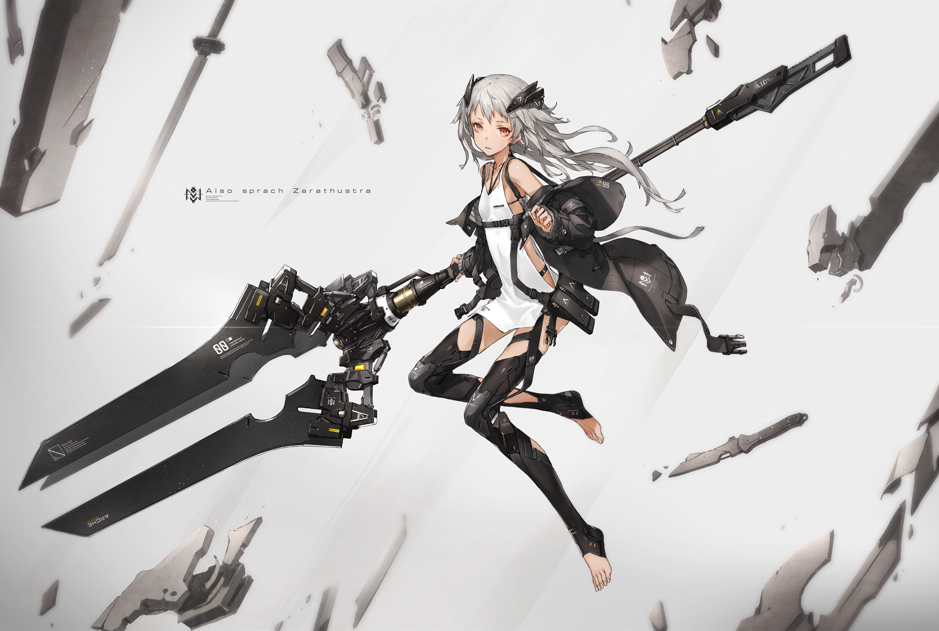 Anime - Original  Girl White Hair Long Hair Weapon Jacket Wallpaper