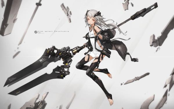 Anime Original White Hair Long Hair Weapon Jacket HD Wallpaper   Background Image