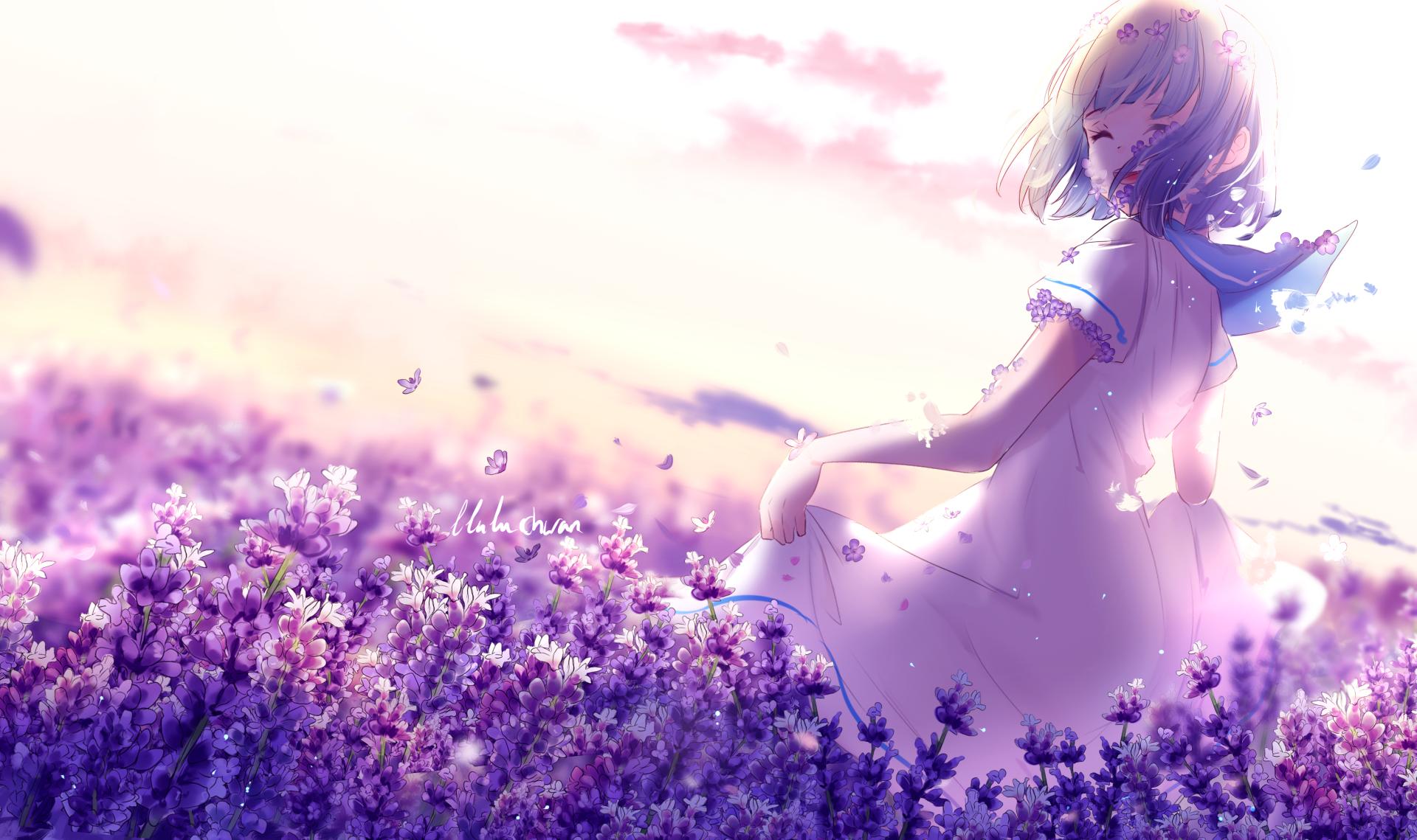 Anime - Original  Dress Flower Girl Short Hair Butterfly Wallpaper