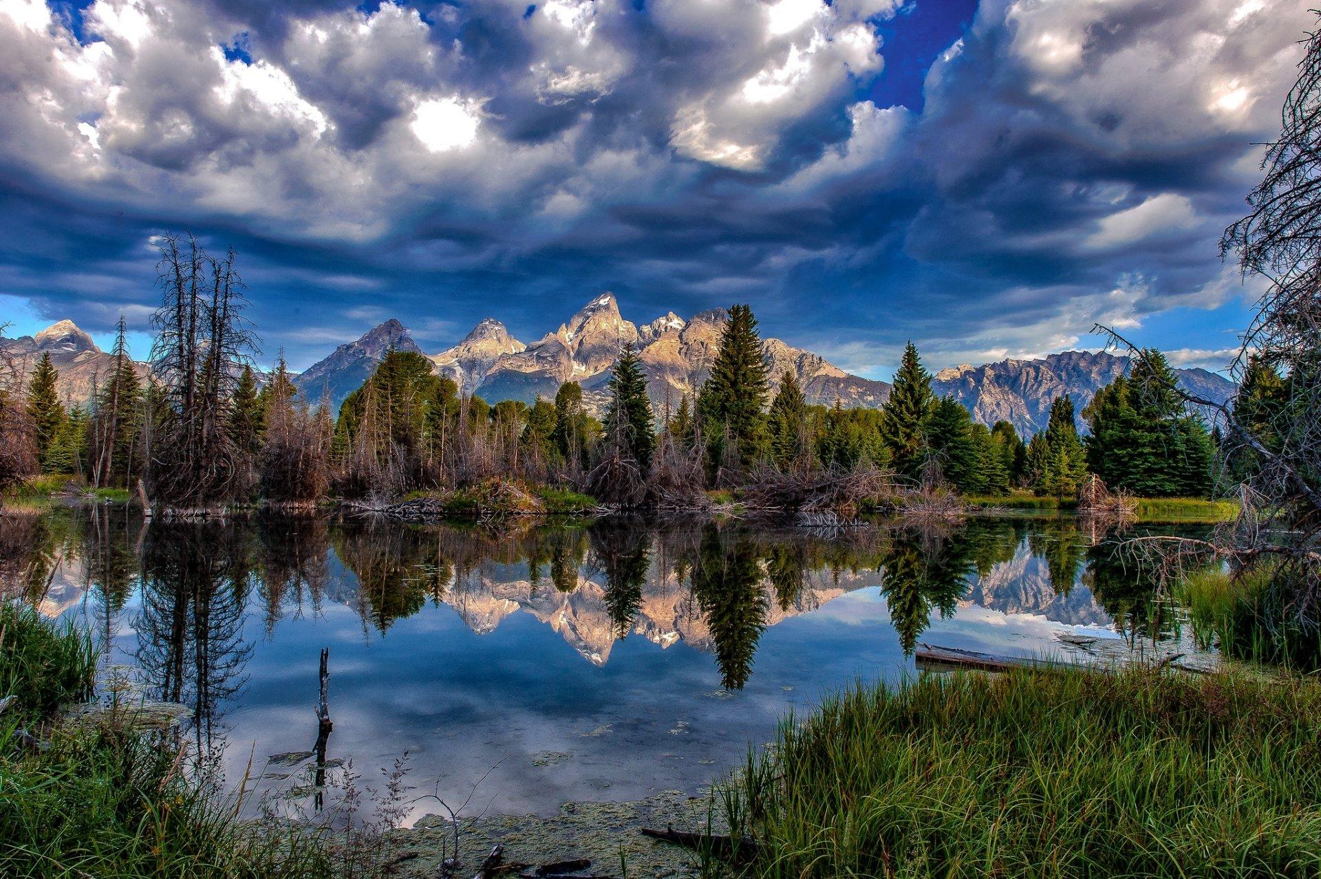 Earth - Reflection  Nature Lake Cloud Tree Mountain Wallpaper