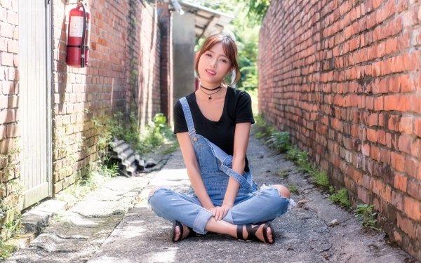 Women Asian Model Brunette Brick HD Wallpaper | Background Image