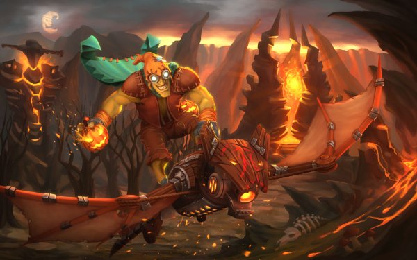 Video Game DotA 2 Dota Batrider Jack-O'-Lantern Goblin HD Wallpaper | Background Image