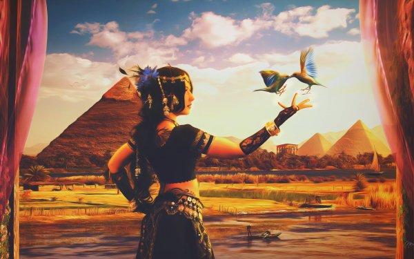 Fantasy Egyptian  Egypt Arabic Bird Dancer Desert Digital Art Nile Oriental Pyramid HD Wallpaper | Background Image