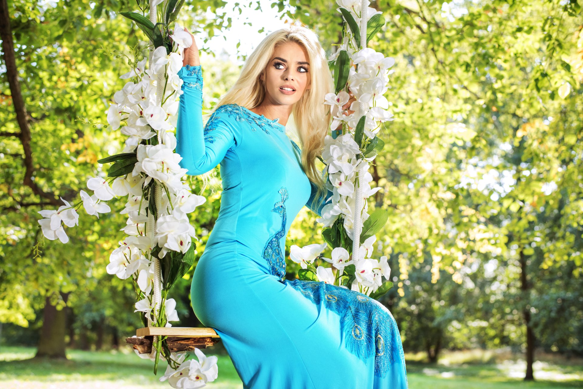 Women - Model  Woman Girl Blue Dress Depth Of Field Swing Blonde White Flower Wallpaper