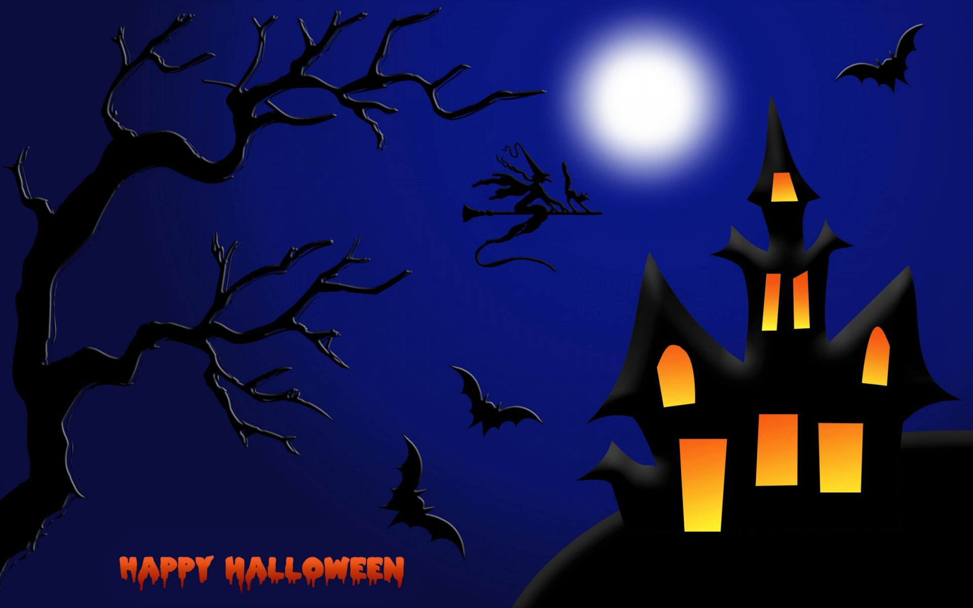 Holiday - Halloween  Happy Halloween Holiday House Witch Bat Moon Wallpaper