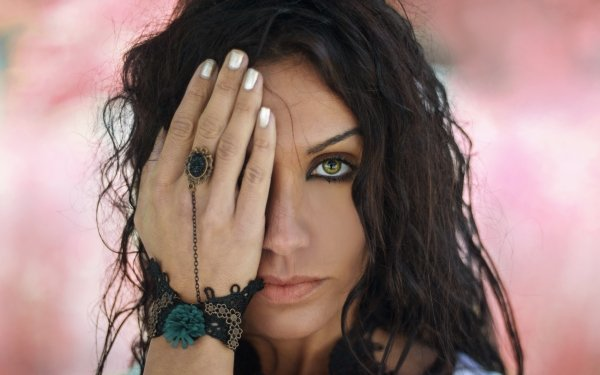 Women Face Woman Model Girl Brunette Green Eyes Depth Of Field HD Wallpaper   Background Image