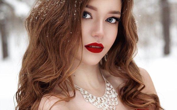 Women Model Models Winter Diamond Necklace Snow Lipstick Blue Eyes Brunette Face HD Wallpaper   Background Image