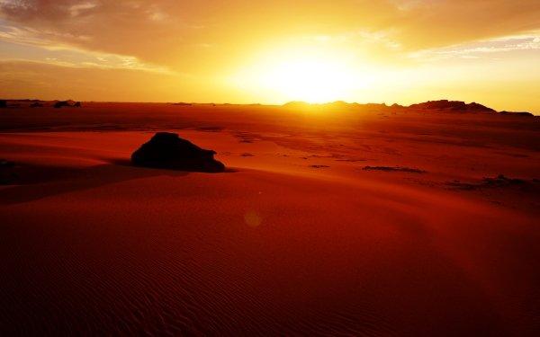 Earth Desert Tassili N'Ajjer Sahara Sand Dune Sunset Rock Algeria Africa HD Wallpaper | Background Image