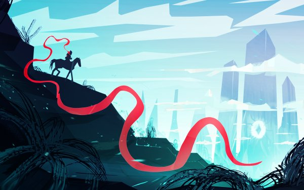 Fantasy Landscape Crystal Ribbon Horse HD Wallpaper   Background Image