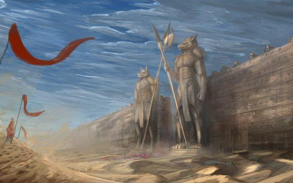Fantaisie Paysage Statue Désert Sand Banner Mur Dune Fond d'écran HD | Image