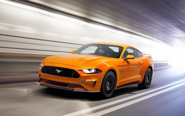 Véhicules Ford Mustang GT Ford Sport Car Orange Car Supercar Fond d'écran HD | Arrière-Plan