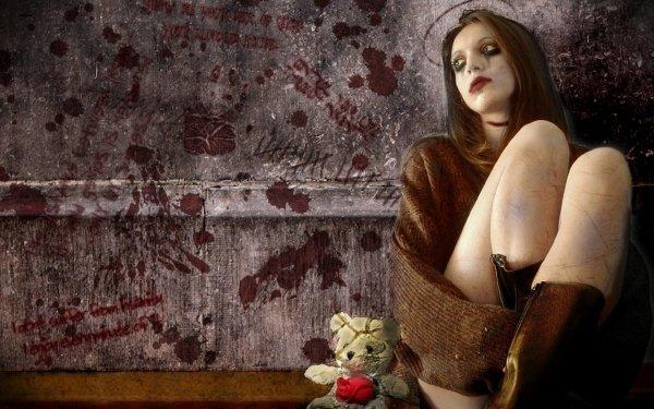 Sombre Gothique Teddy Bear Rose Mur Fond d'écran HD | Image