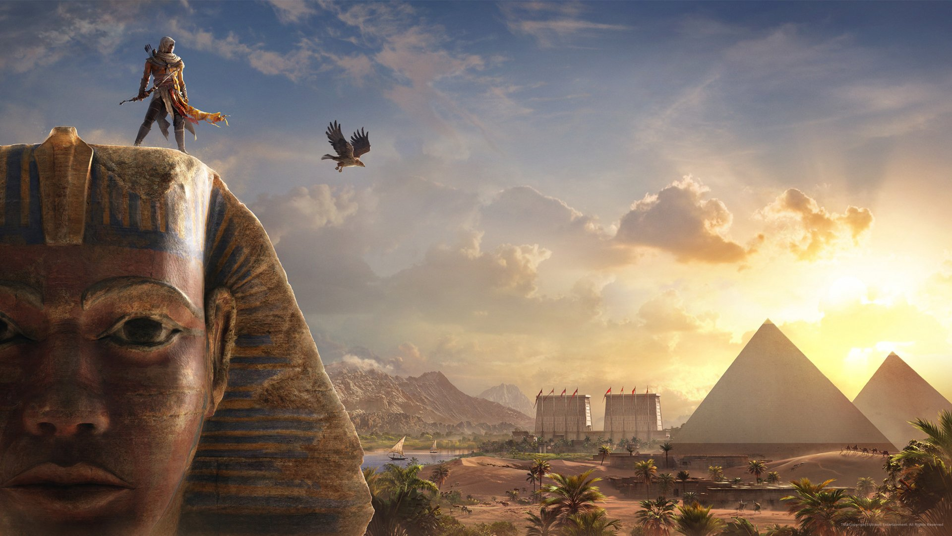 Video Game - Assassin's Creed Origins  Bayek Of Siwa Sphinx Pyramid Wallpaper