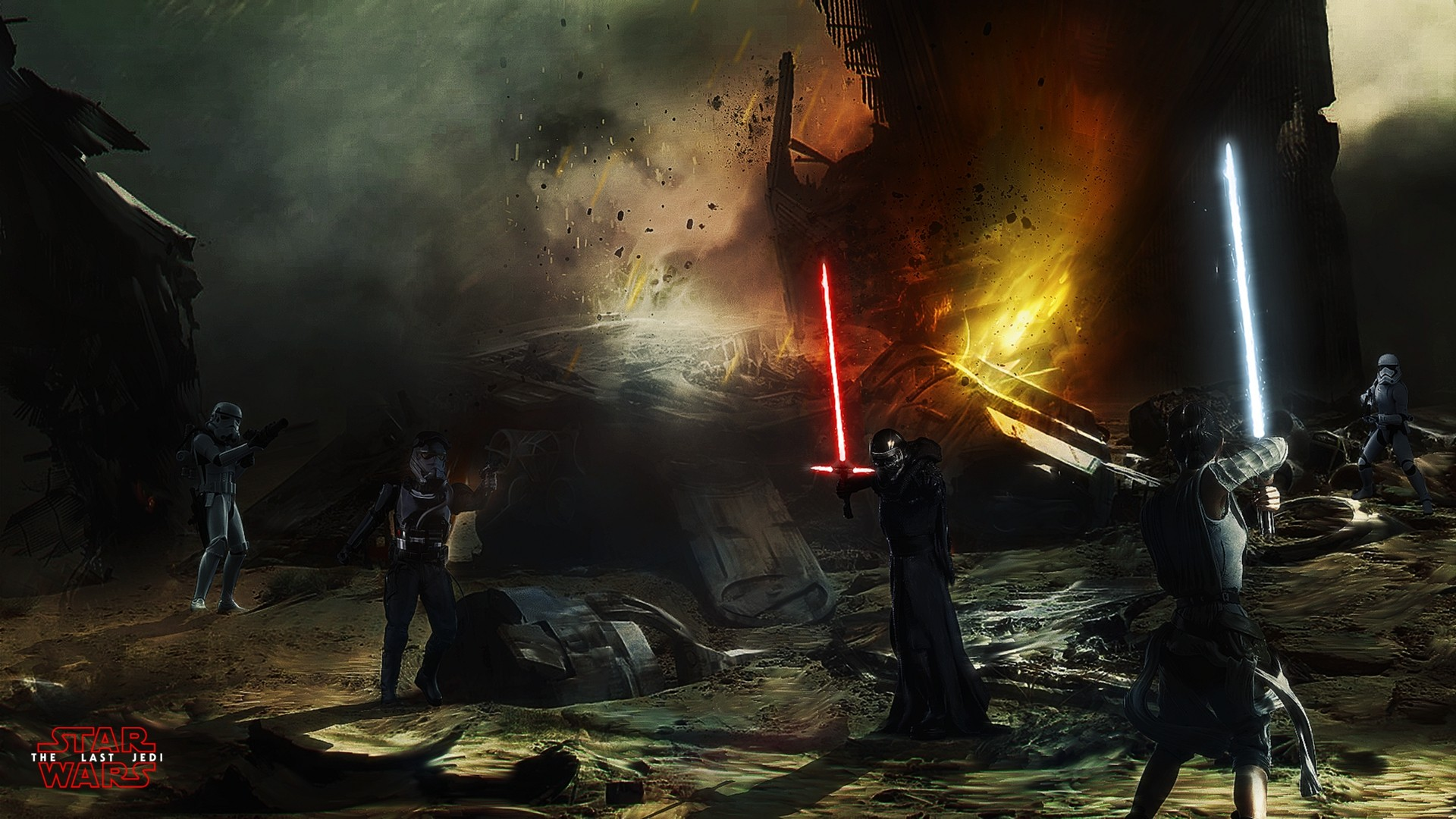 Rey Vs Kylo Ren Hd Wallpaper Background Image 1920x1080 Id 886203 Wallpaper Abyss