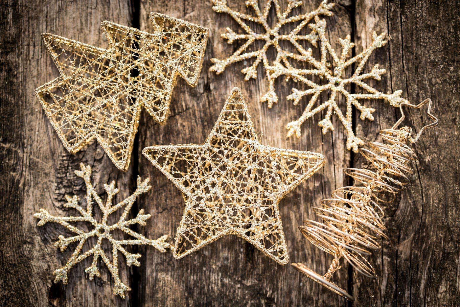 节日 - 圣诞节  Decoration 雪花 Star 木质 壁纸