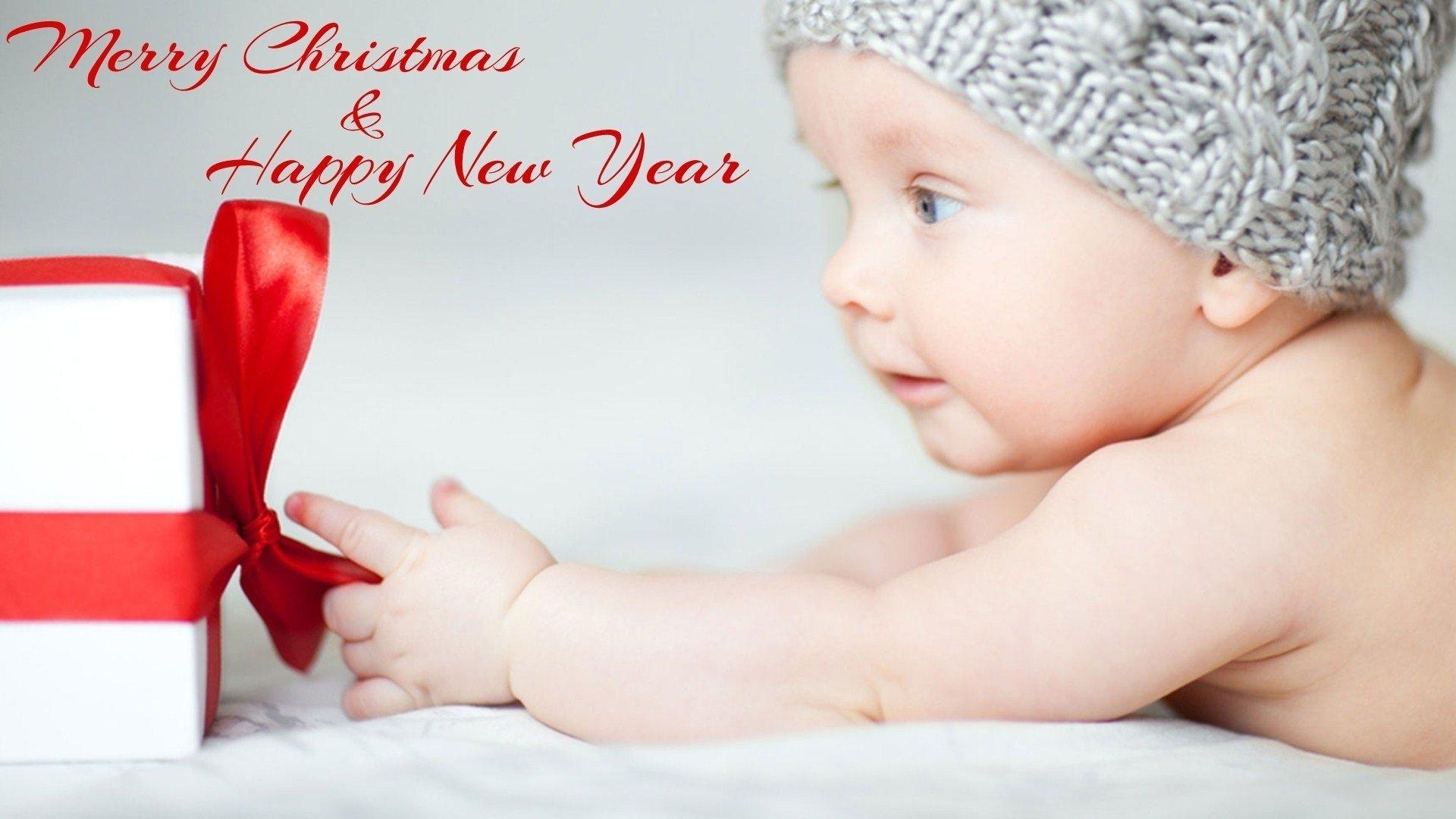 节日 - 圣诞节  婴儿 Hat 礼物 Merry Christmas Happy New Year 元旦 壁纸
