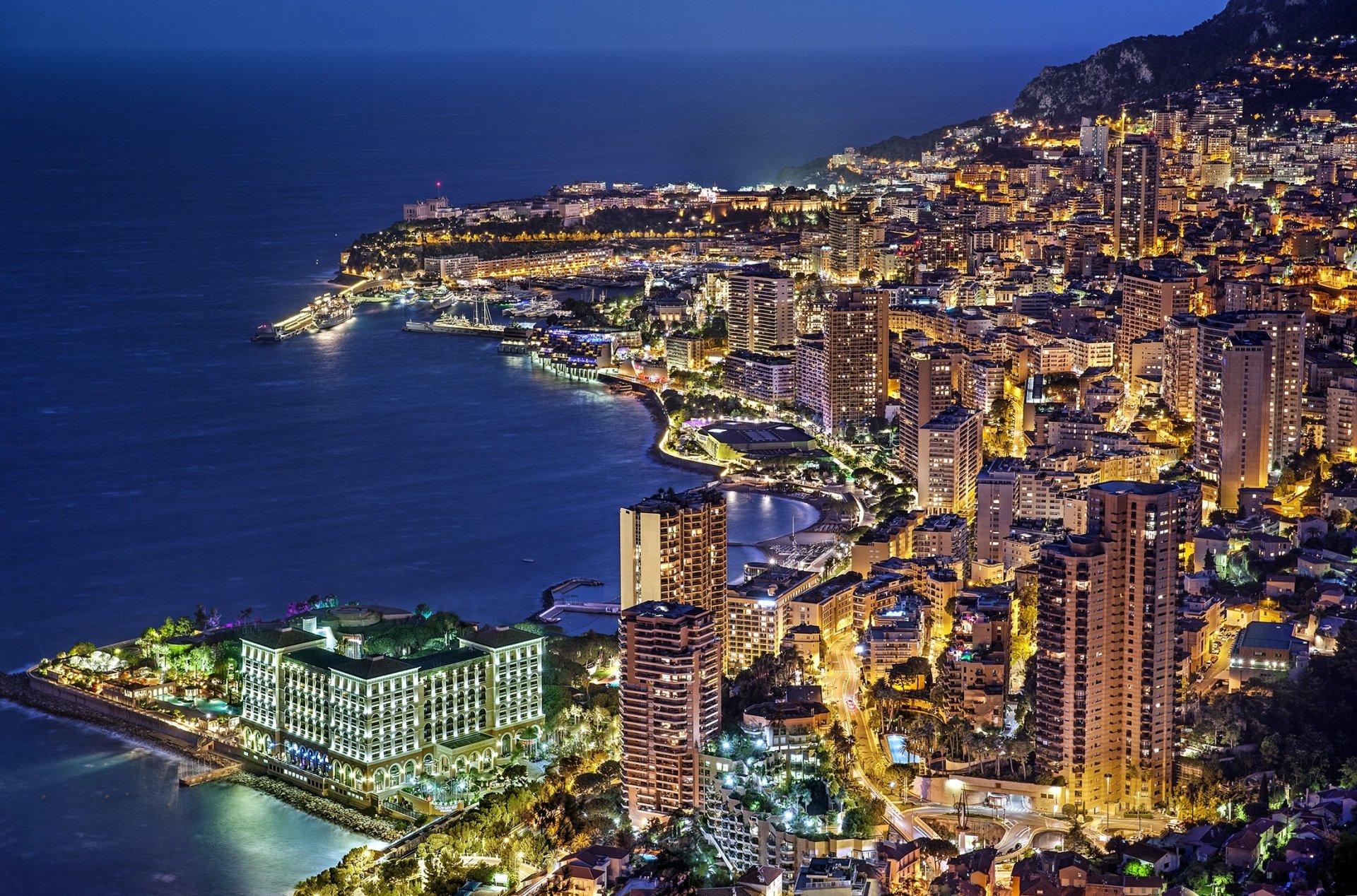 Man Made - Monaco  Light City Skyscraper Coastline Night Building Wallpaper