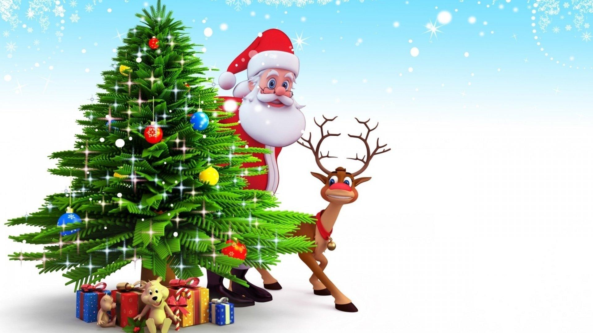 Holiday - Christmas  Christmas Tree Santa Claus Reindeer Gift Wallpaper
