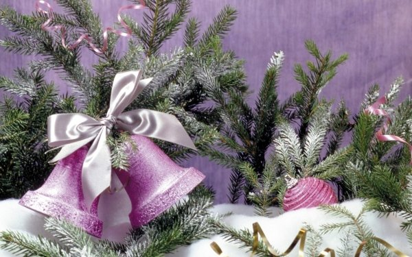 Holiday Christmas Decoration Purple Bell Snow HD Wallpaper | Background Image
