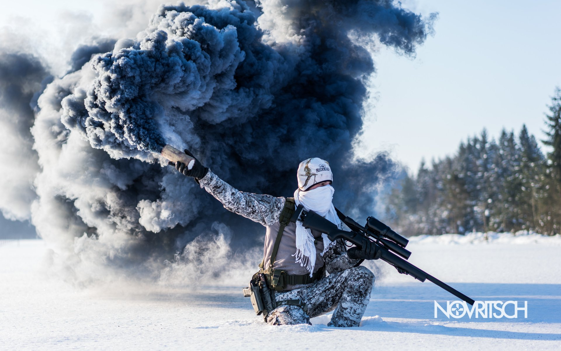Military - Soldier  Snow Sniper Rifle Smoke Grenade Airsoft Winter Military Wallpaper