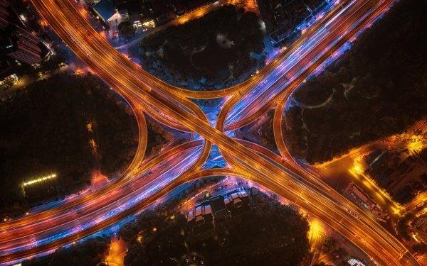 Man Made Highway Night Aerial Road Shanghai China HD Wallpaper | Background Image