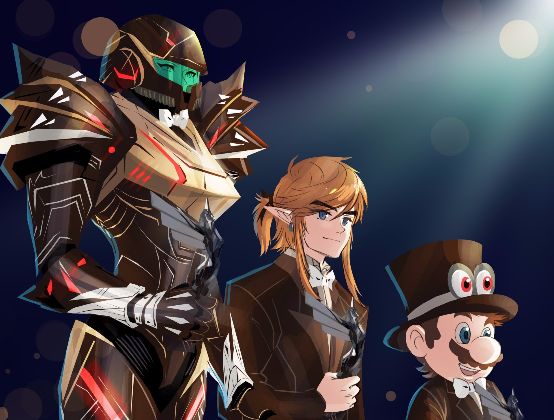 Computerspiele - Crossover  Super Mario Odyssey The Legend of Zelda: Breath of the Wild Metroid: Samus Returns Cappy (Mario) Mario Link Samus Aran Wallpaper