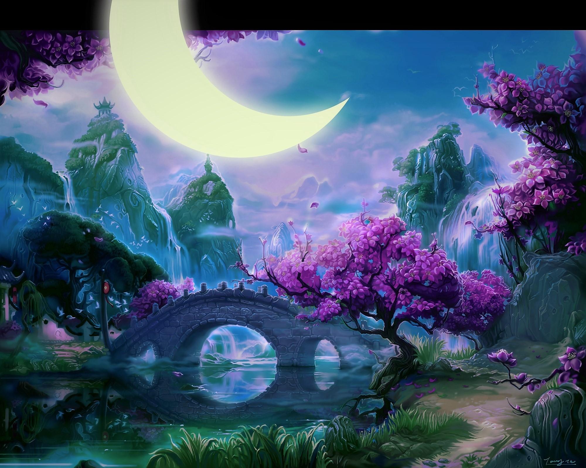 Fantasy landscape hd wallpaper background image - Fantasy wallpaper bridge ...