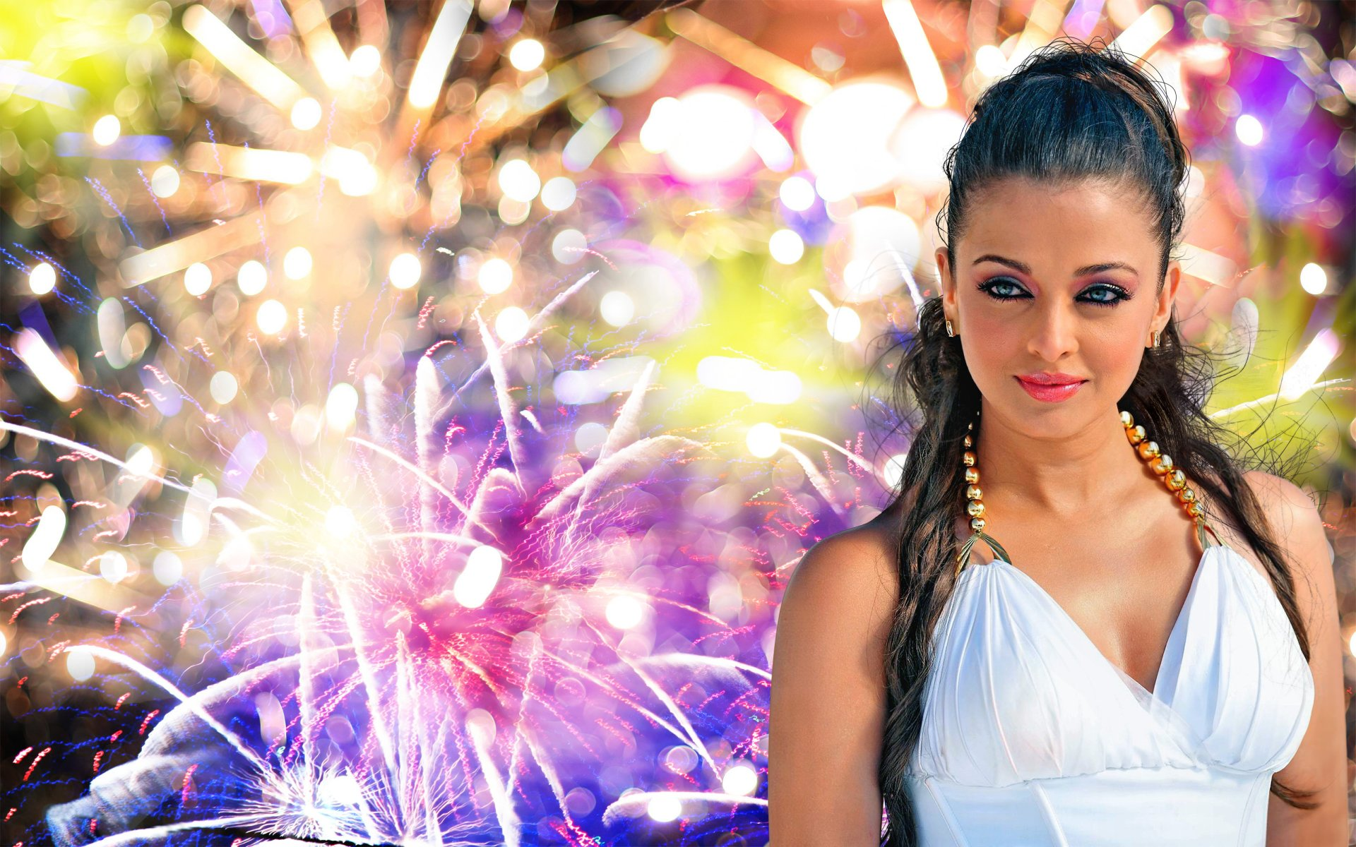 Celebrity - Aishwarya Rai  Bollywood Fireworks Model New Year Wallpaper