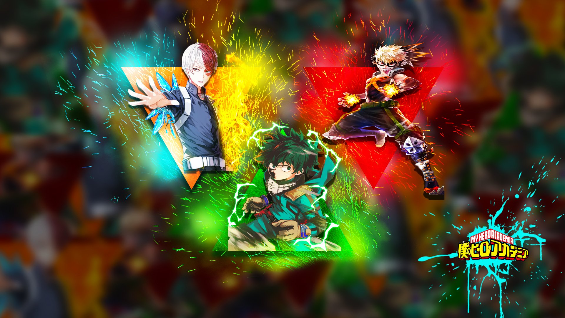 Boku No Hero Academia Midoriya Bakugou Todoroki Hd Wallpaper